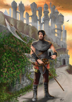 Warrior with polearm, background Iriaebor from FR