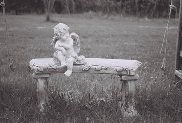 Angel on a bench