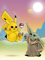 Pikachu and Baby Yoda - Commission - 02 2021
