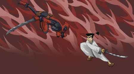 Doboshin Colab - Samurai Jack VS Deadpool by Kaiazes