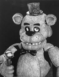 Freddy Fazbear (scratchboard)
