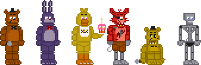 FNaF 1 Stylized Sprites by crazycreeper529