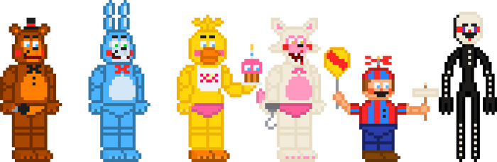 FNaF 2 Toys Stylized Sprites by crazycreeper529