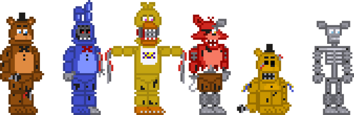 FNaF 2 Withereds Stylized Sprites by crazycreeper529