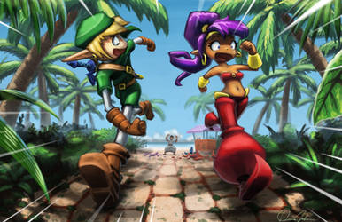 Link and Shantae Getting into Trouble