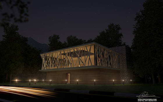3D Library Night Scene by osmanassem