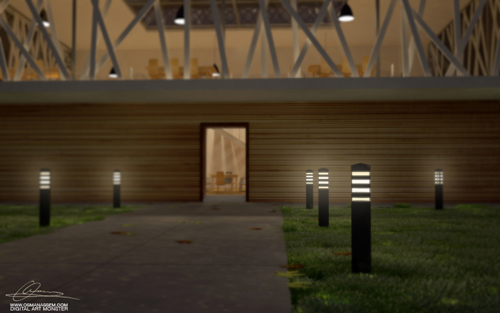 3D Library Close Night Scene by osmanassem