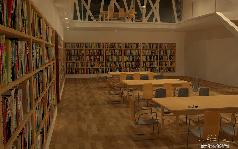 3D  Library Interior Night Close Scene by osmanassem