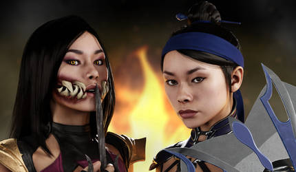 MK11 Kitana / Mileena Render by MistFighter