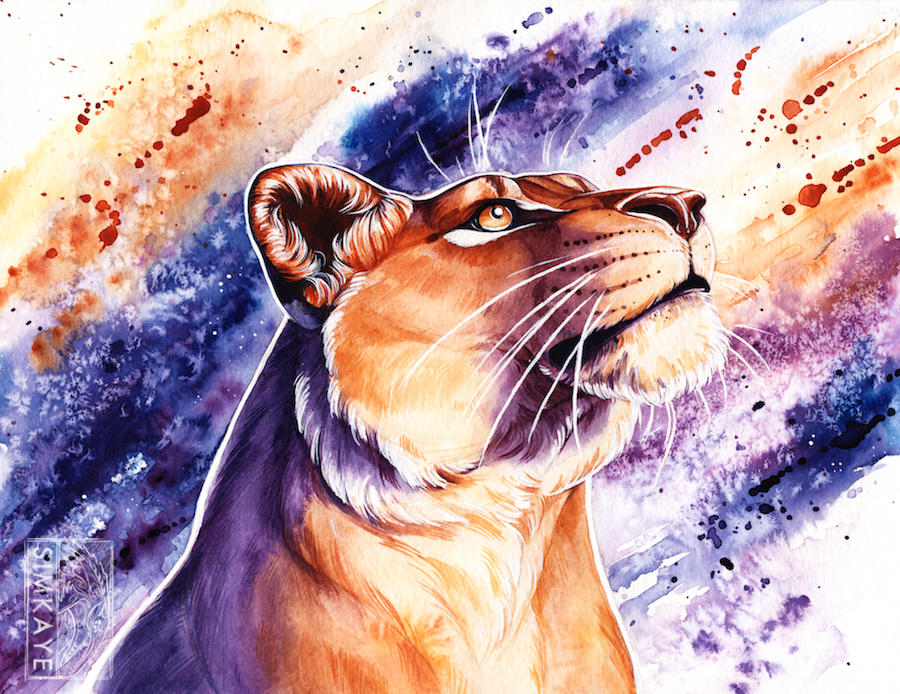 Watercolour Lioness by Simkaye