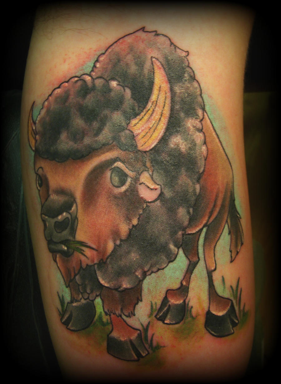 Buffalo tattoo by jcrossmon on deviantart for Traditional bison tattoo