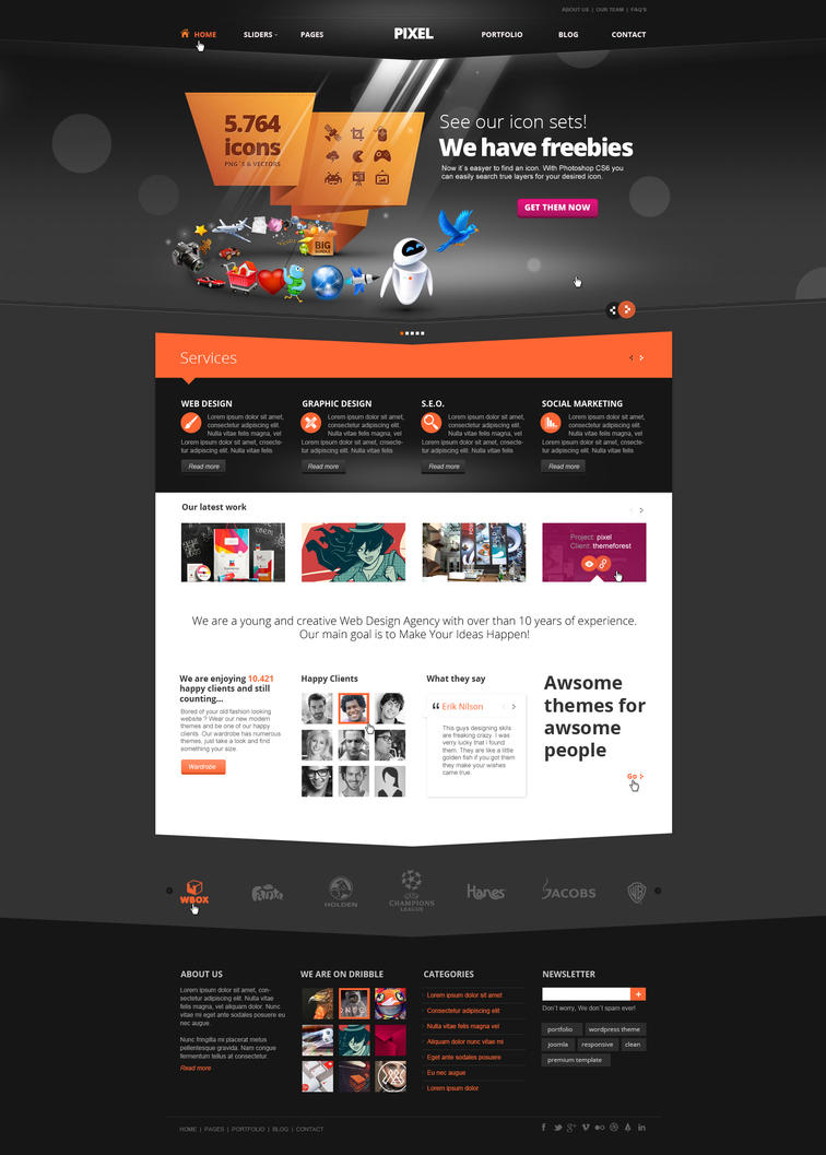 pixel studio premium website template dark by. Black Bedroom Furniture Sets. Home Design Ideas
