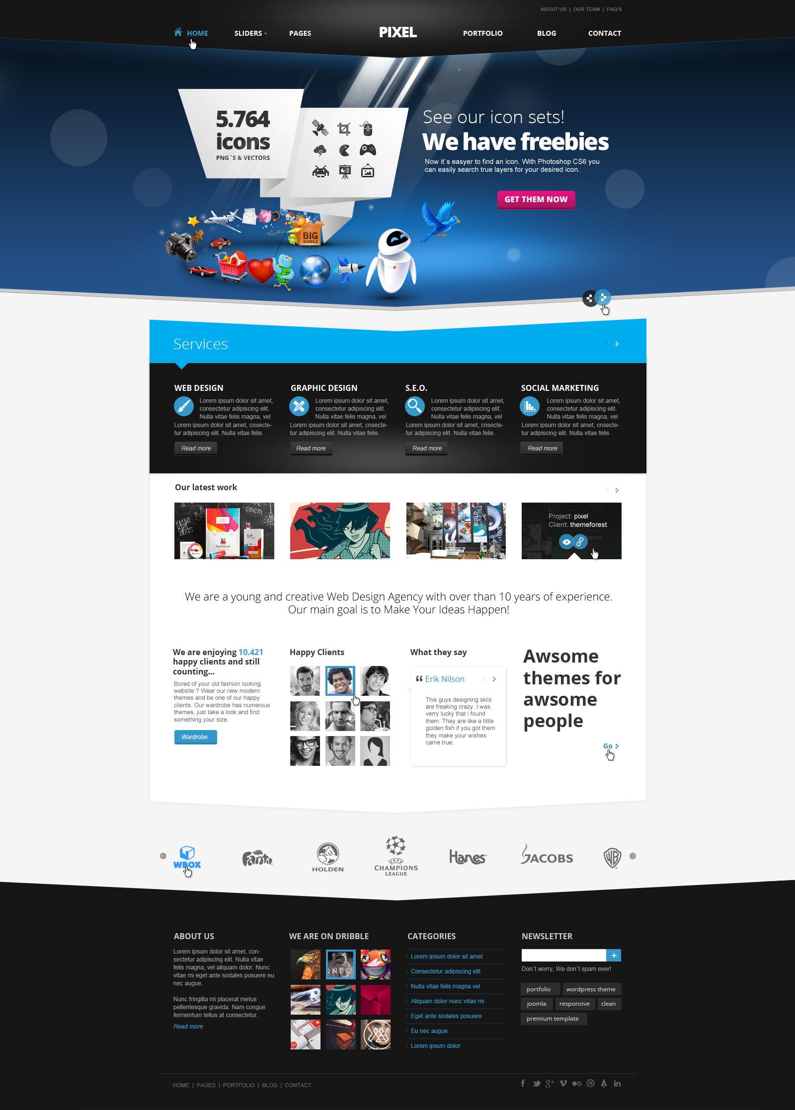 pixel studio premium website template light by dajydesigns on deviantart. Black Bedroom Furniture Sets. Home Design Ideas