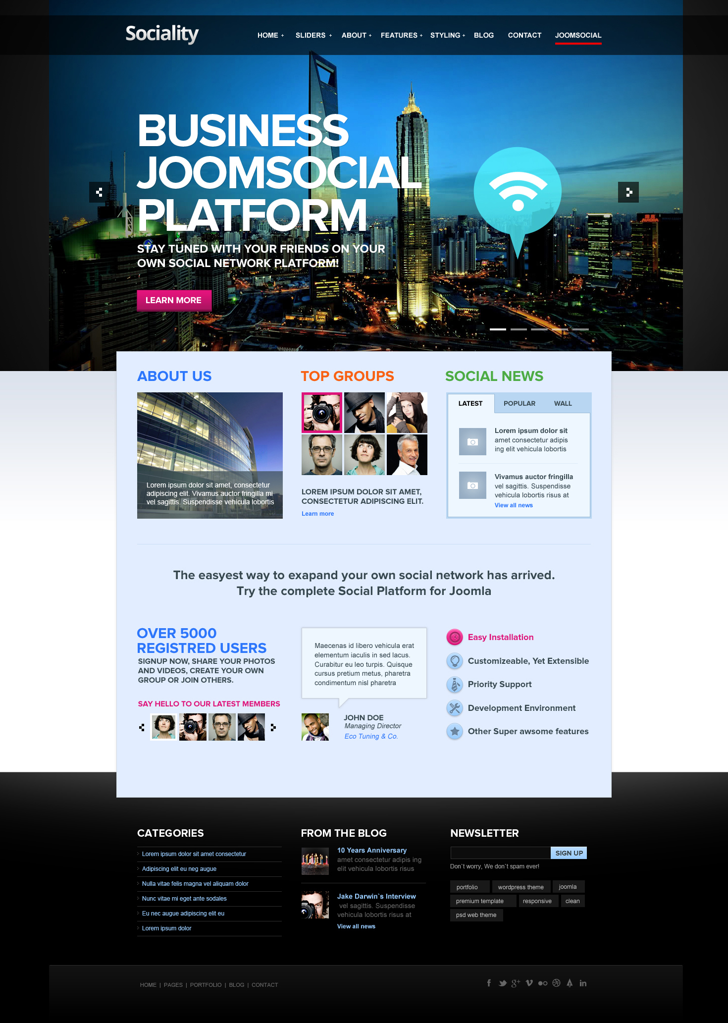 Sociality Joomla Template