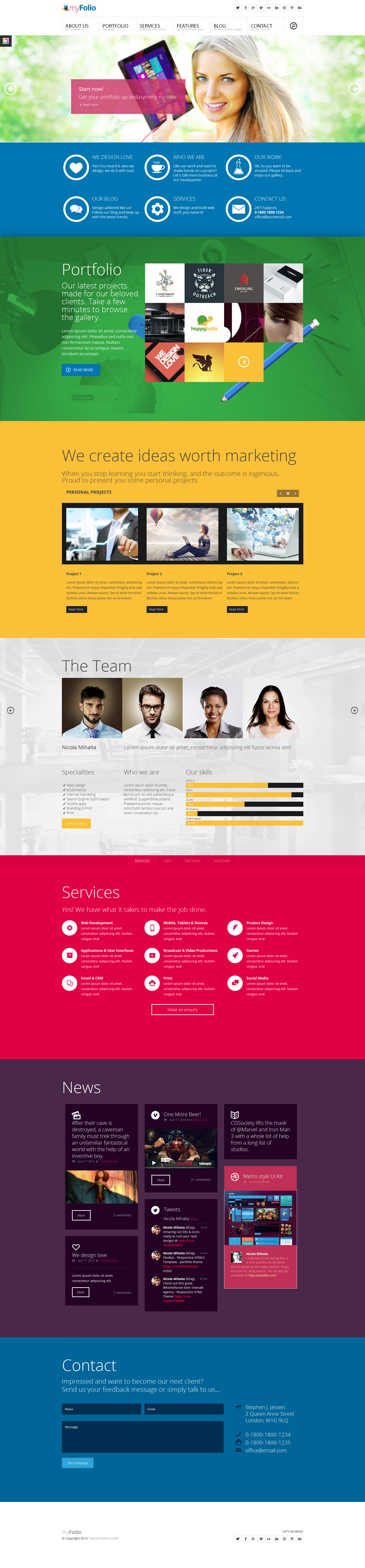 Myfolio parallax onepage html5 template by dajydesigns for Free html5 parallax scrolling template