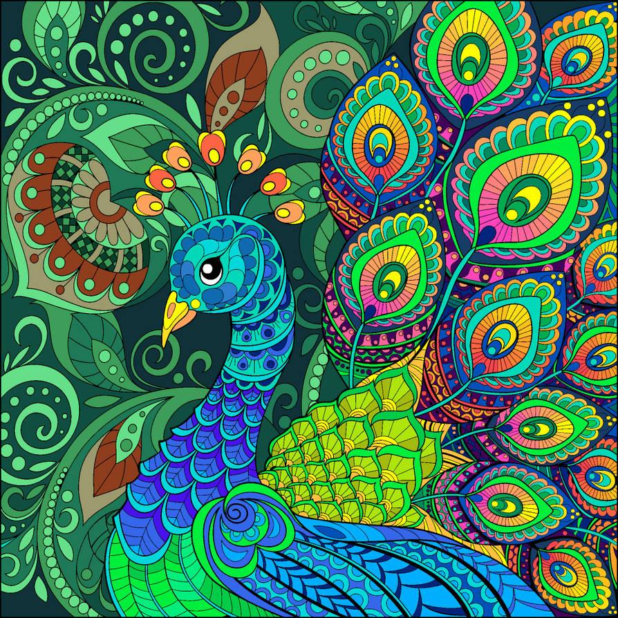 Peacock Wallpaper Design. by catdragon4