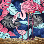 Mother Flamingo And Her Flamingo Chick. by catdragon4