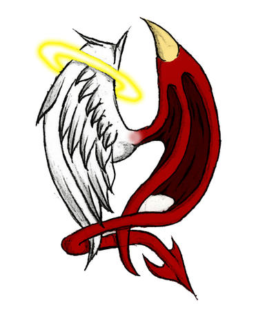 Demonic Angel Tattoos on Angel Vs  Demon By  Xxblood Puppetxx On Deviantart
