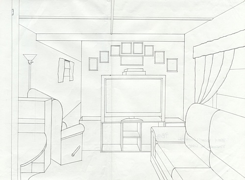 The Gallery For One Point Perspective Drawing Living Room