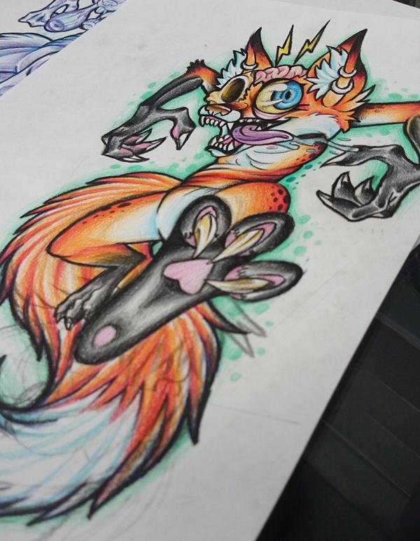 Crazy Zombie Fox (Update) by Lawlfox