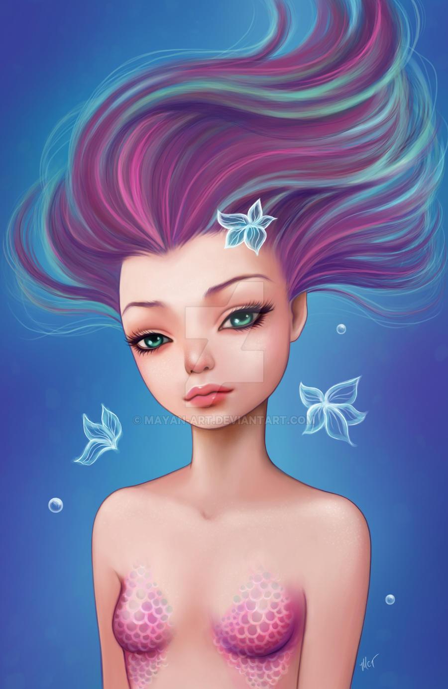 Purple Mermaid by mayan-art