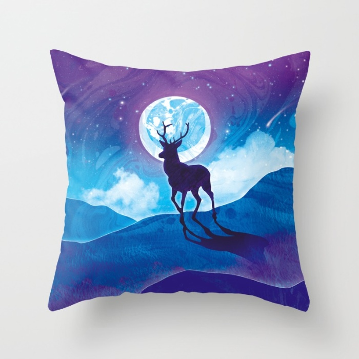 Moonlit-stag-4gj-pillows by mayan-art