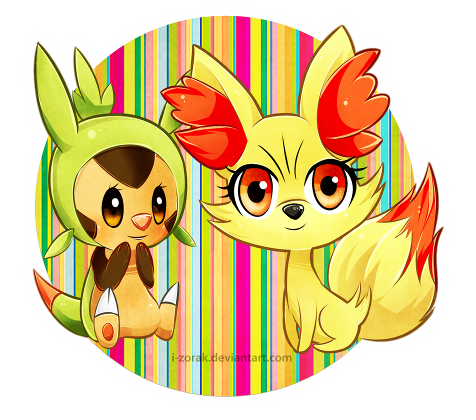 chespin and fennekin by izorak on deviantart