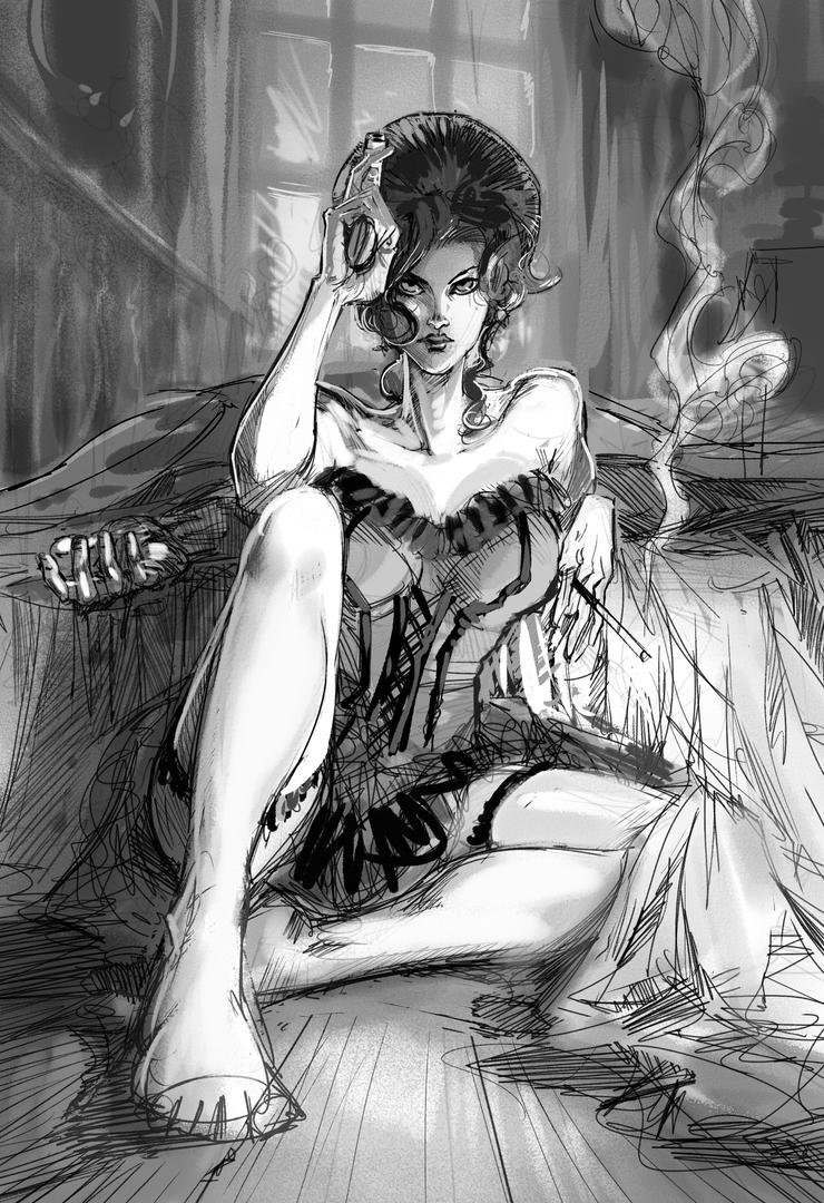 Saloon Lady - WIP 02 by Bisart