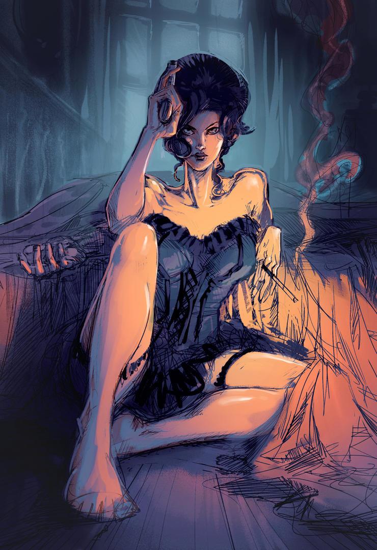Saloon Lady - WIP 03 by Bisart