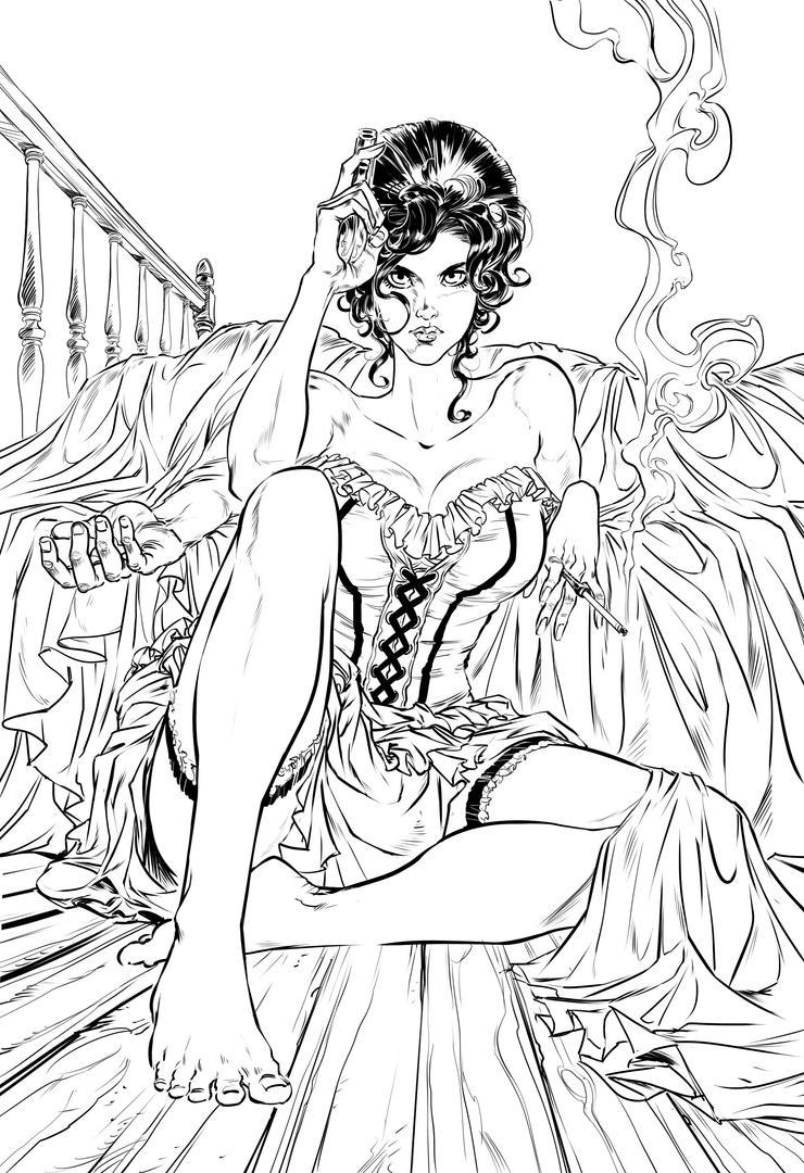 Saloon Lady - WIP 04 by Bisart
