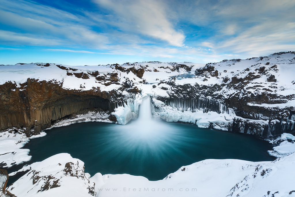 The Snowy Cloak of Aldeyjarfoss by erezmarom