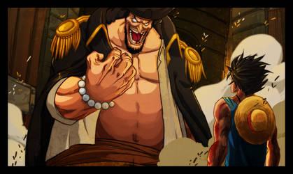 Luffy and Blackbeard by Gandaresh