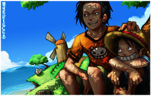 Years back...Ace and Luffy by Gandaresh