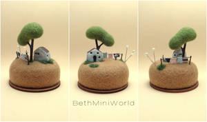 Miniature laundry hanging scene pincushion