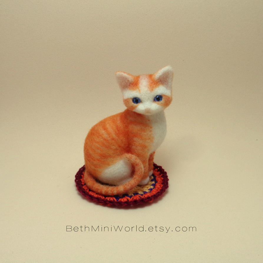 Needle felted orange baby cat miniature by BethMiniWorld