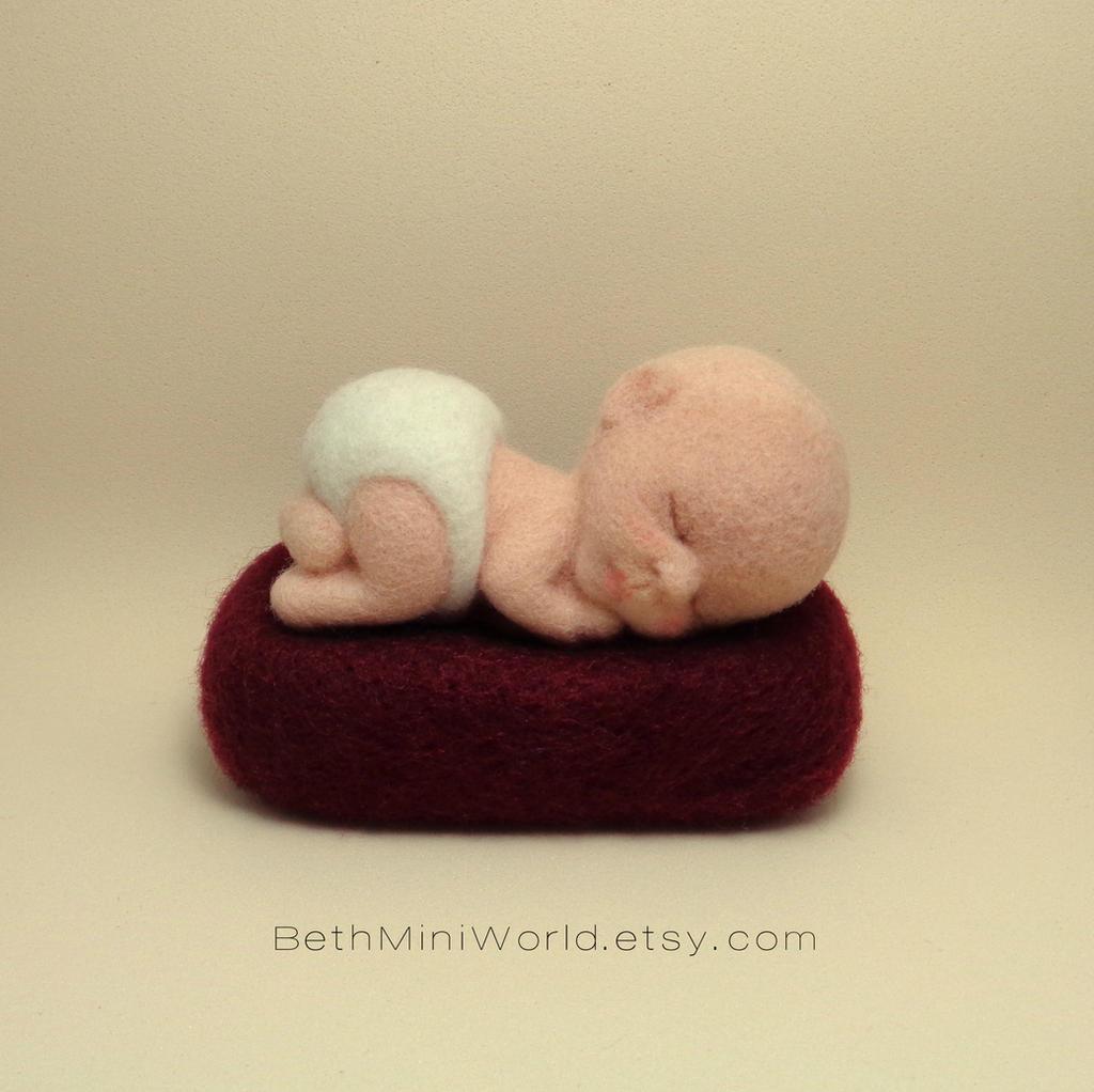 Needle felted sweet baby - Newborn wool sculpture by BethMiniWorld