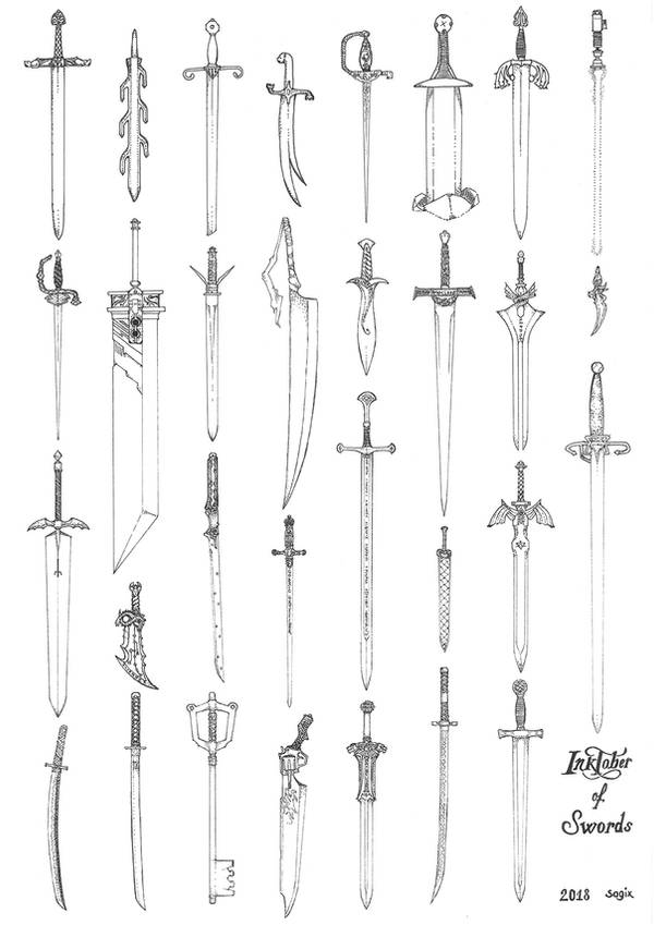 Inktober of swords 2018 by sagix