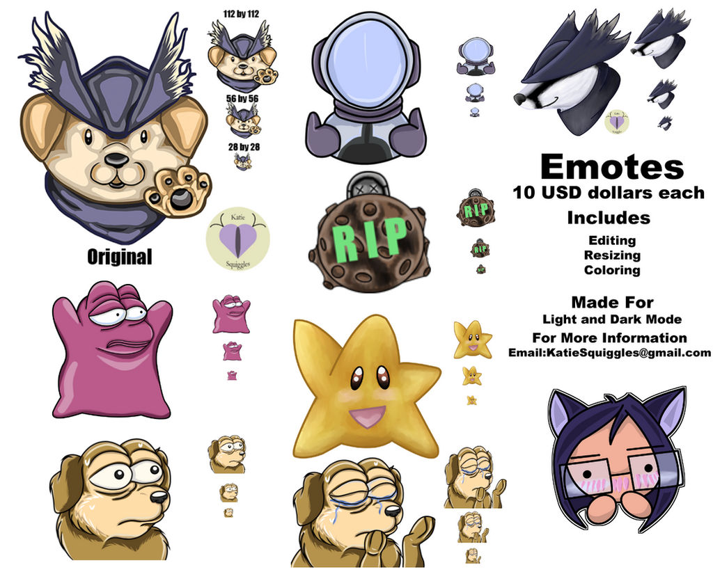 Twitch Emotes Commissions by KatieSquiggles on DeviantArt