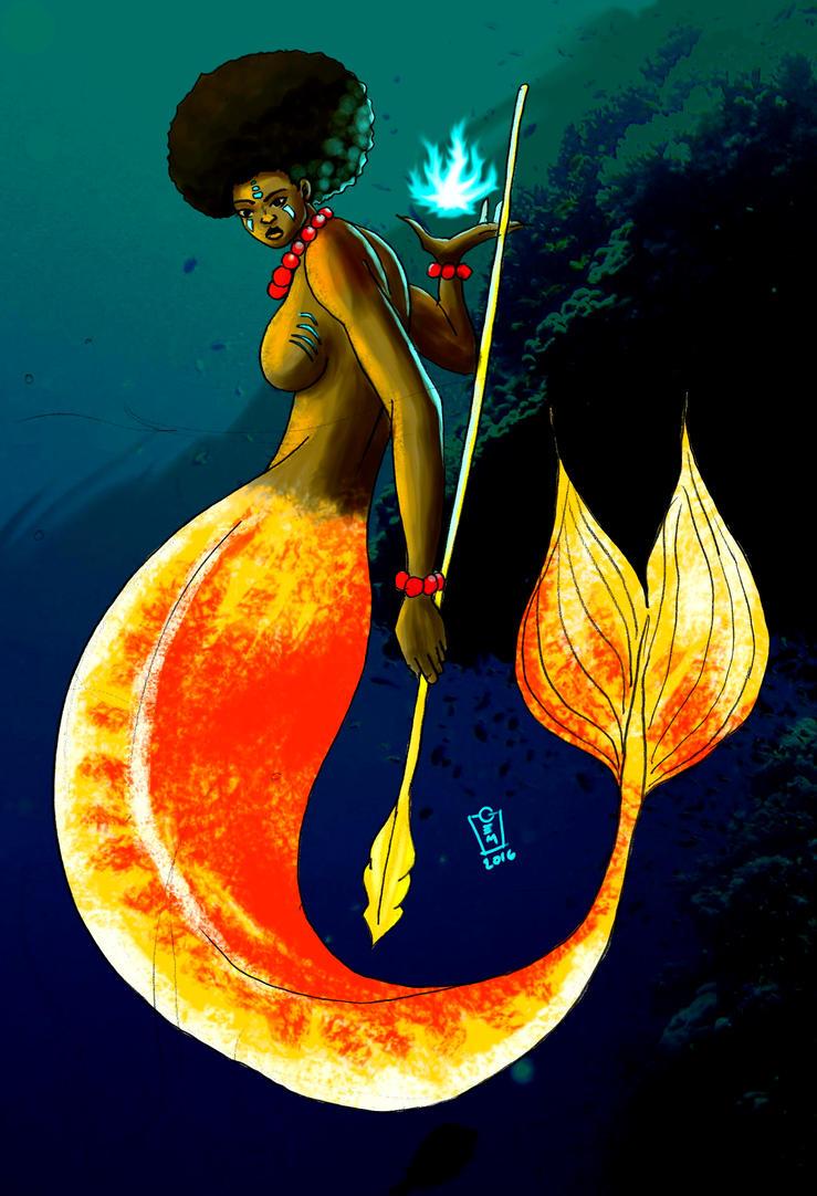 Afro Mermaid Paint by Iamgem