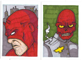 DAREDEVIL AND RED SKULL SKETCH CARDS by WILLEYWORKS