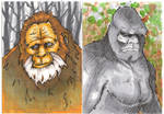HARRY AND BIGFOOT SKETCH CARDS