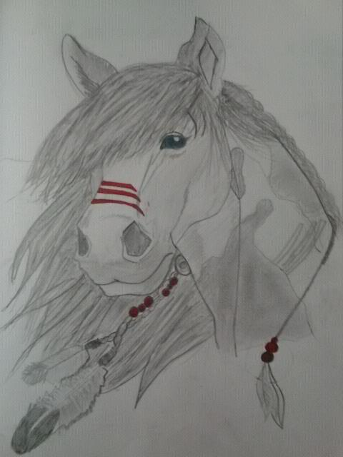 Native American Horse Drawings Indian horse by deftonesgirl07
