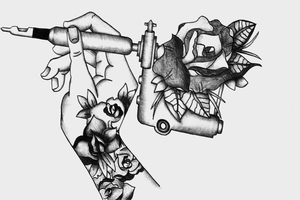 Tattoo Machine Tattoo Design  |Tattoo Gun Drawing