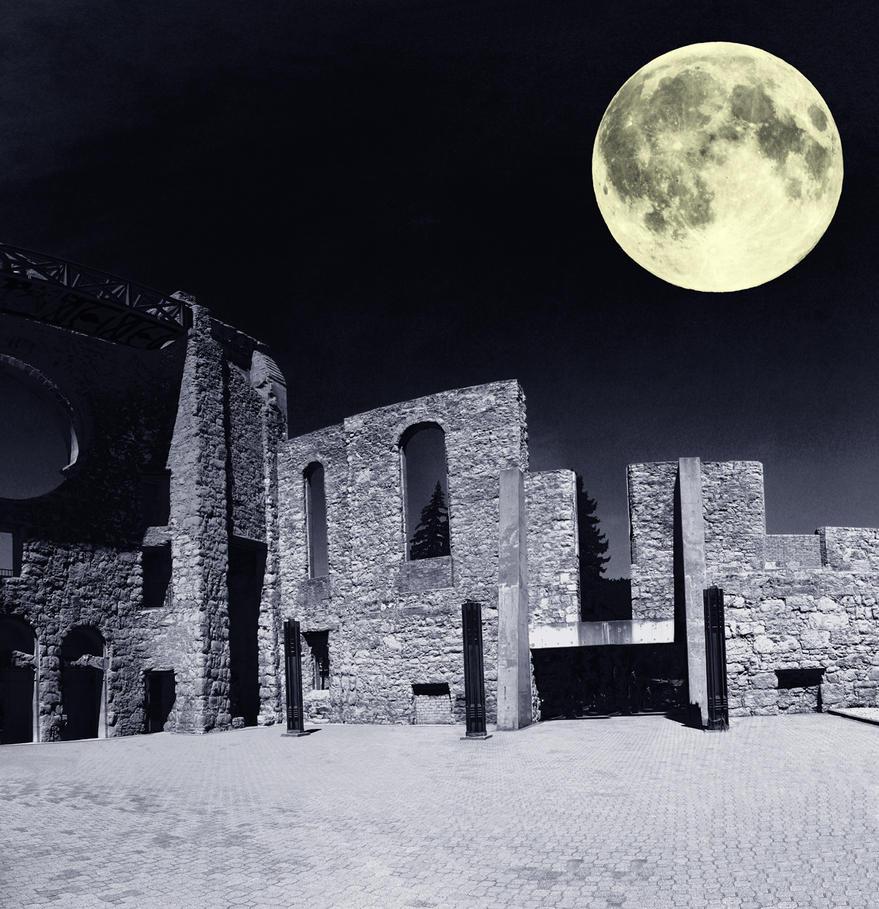 Saint Boniface Cathedral at Night With Moon by Joe-Lynn-Design
