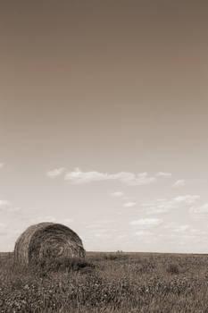 Hay Bale on the Prairie Sepia