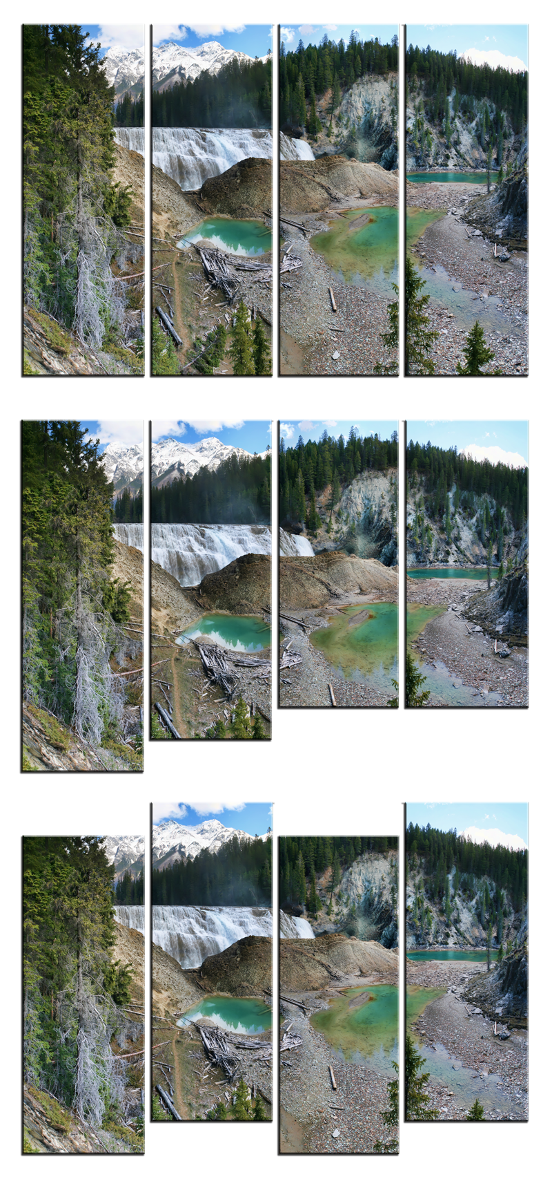 Wapta Falls 4 Panel Canvas Prints by Joe-Lynn-Design