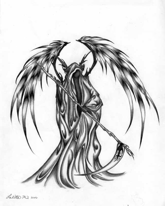 How to Draw a Grim Reaper Skull Tattoo Step by Step