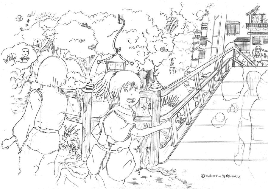 Spirited Away Chase By El Transparente On Deviantart Spirited Away Coloring Pages