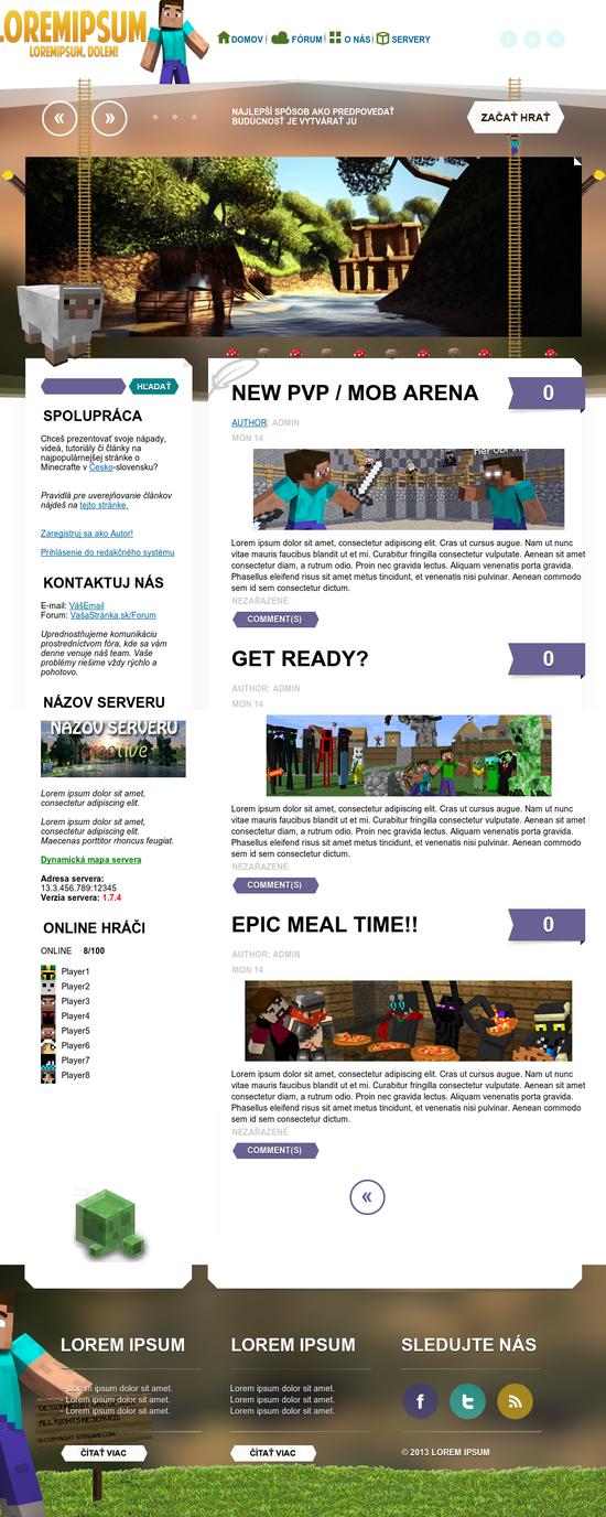 minecraft website template wordpress by graphic idea on deviantart. Black Bedroom Furniture Sets. Home Design Ideas