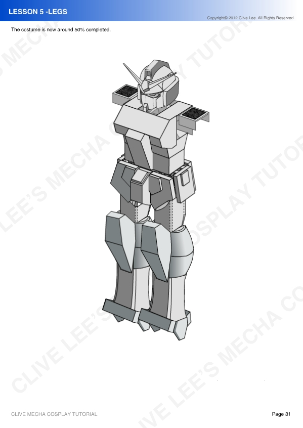 Gundam mecha cosplay tutorial - Lesson 5 - 6 by Clivelee